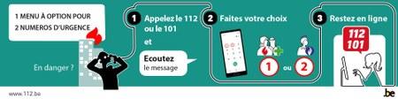 Menu à option pour les numéros d'urgence 112 et 101