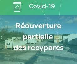 Réouverture partielle des Recyparcs à partir de ce 22/04/2020