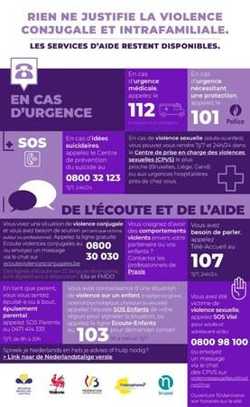 Violence conjugale et intrafamiliale : les services d'aide restent à votre disposition.