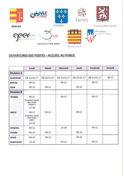 poste police zone horaires