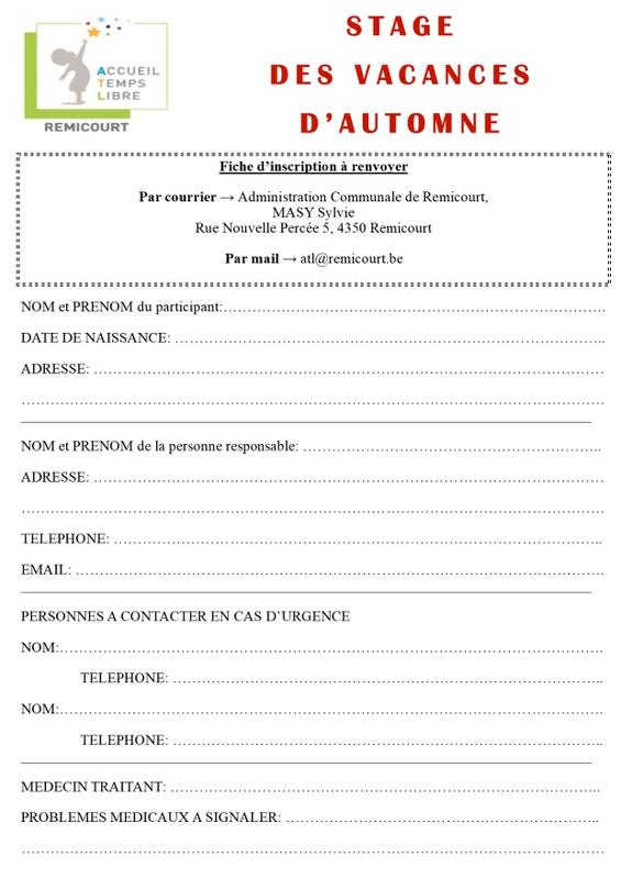 Bulletin d'inscription automne 2018