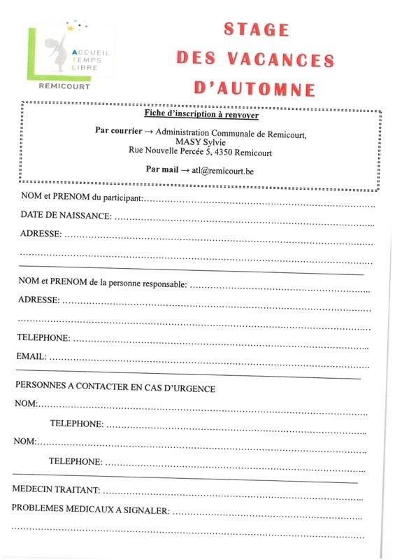 Bulletin inscription automne 2019