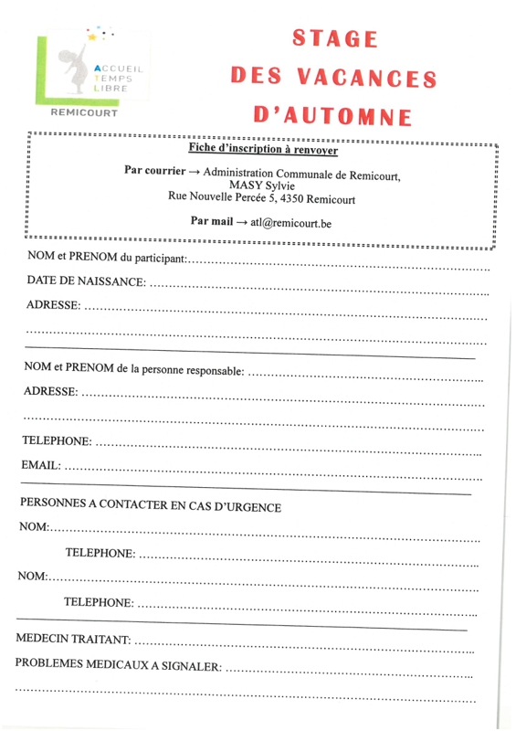 Bulletin inscription automne 2019