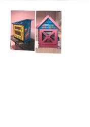 Boîtes à livres réalisées à la garderie grâce à l'Atelier Hougardy!