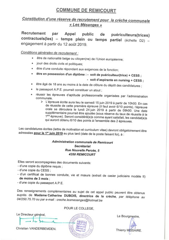 Recrutement par appel public  engagement apd 12  08 2019