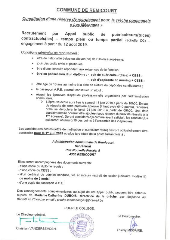 Recrutement par appel public  engagement apd 12  08 2019